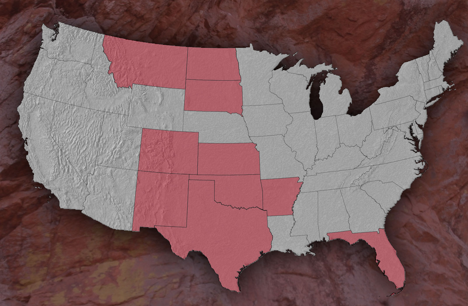 View of the USA Map with all the States highlighted that Panhandle has minerals assets in.