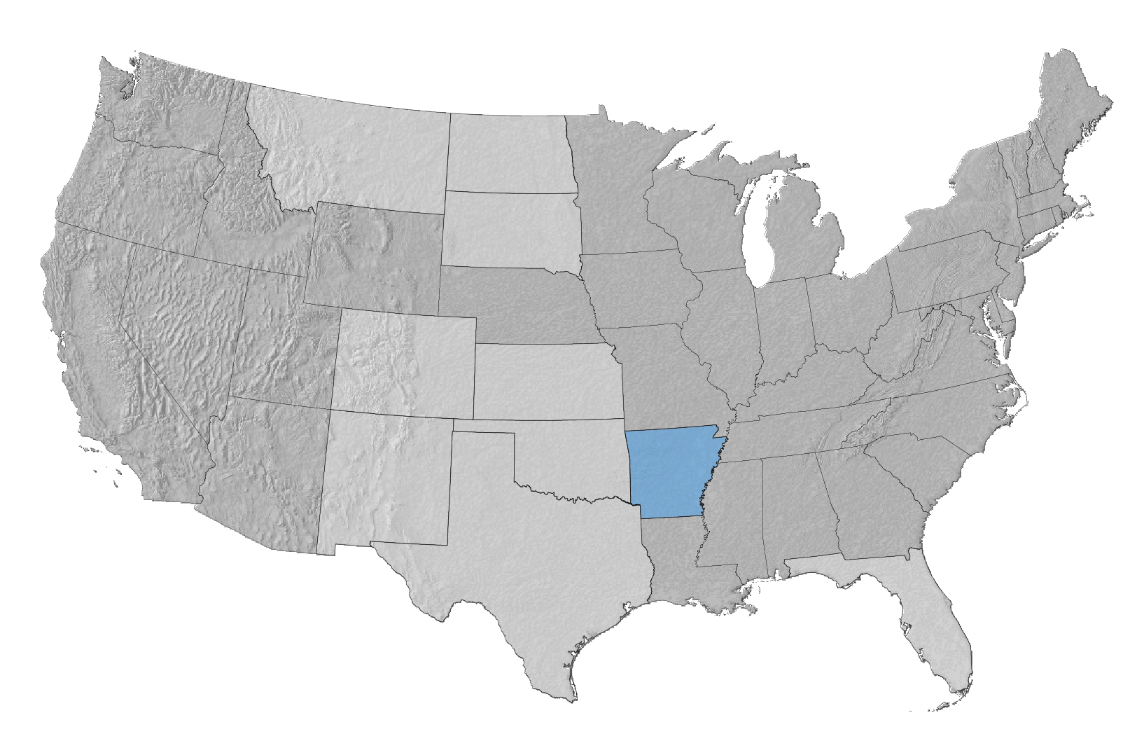 USA Map with Arkansas Highlighted