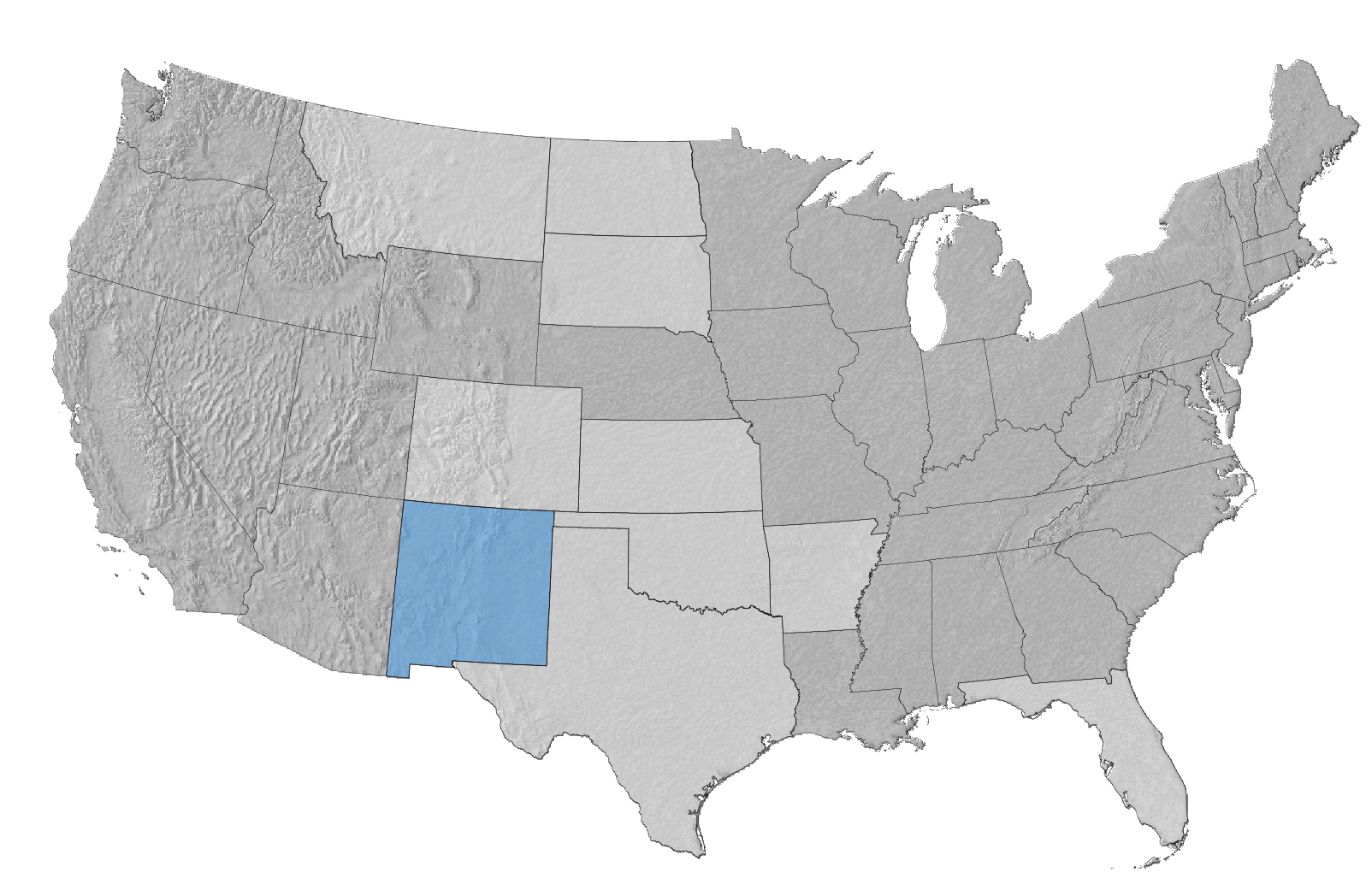 USA Map with New Mexico Highlighted