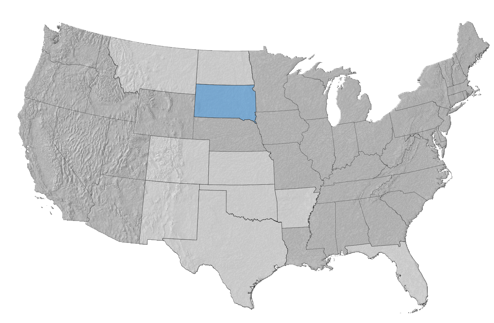 USA Map with South Dakota Highlighted