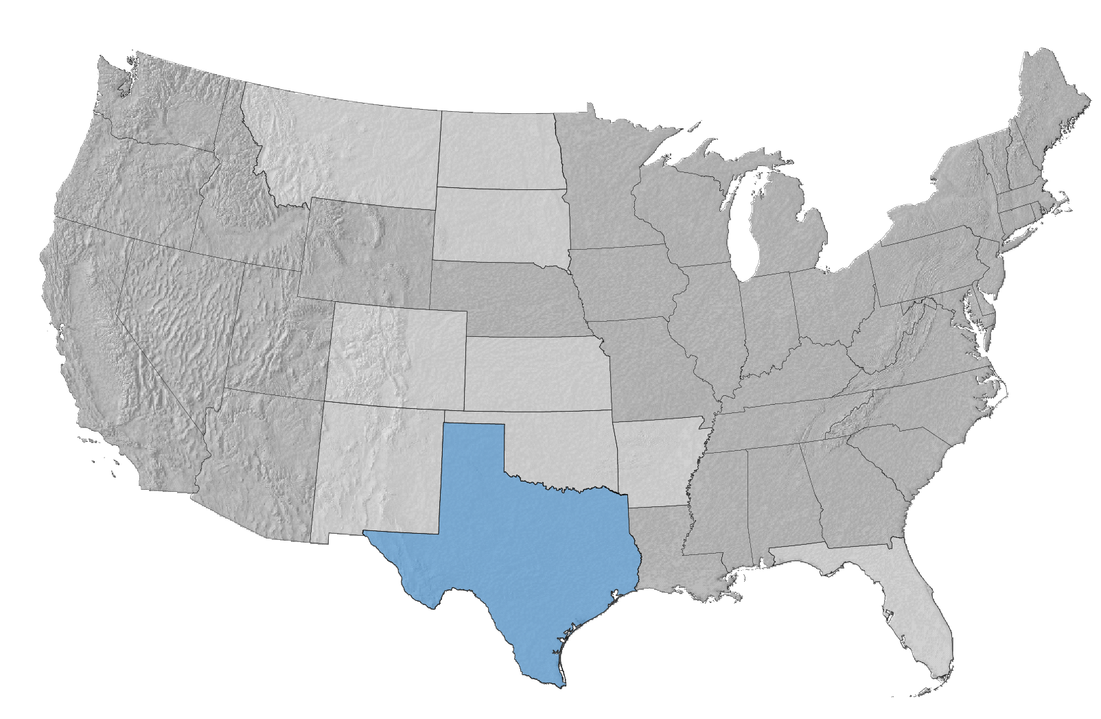 USA Map with Texas Highlighted