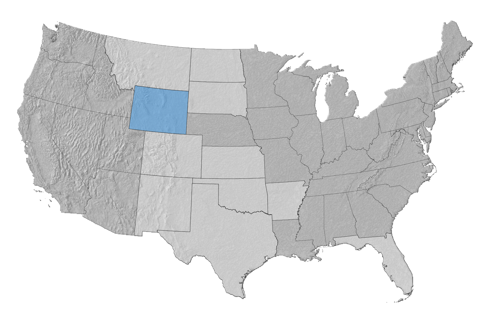 USA Map with Wyoming Highlighted