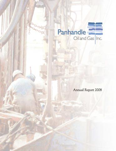 Cover of the 2008 Annual Report for Panhandle Oil and Gas Inc.