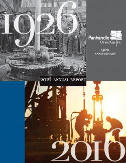 Cover of the 2016 Annual Report for Panhandle Oil and Gas Inc.